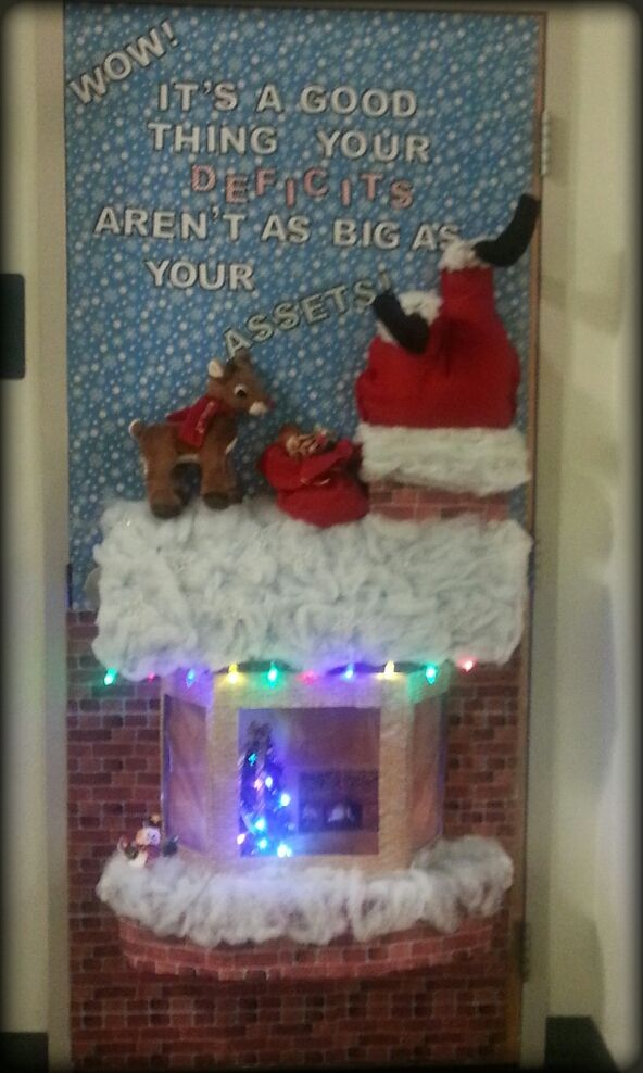 3d christmas door decorating contest winners. Chaves County Finance/IHC First Place Winner On Door Decorating Contest Features 3D Santa Stuck In The Chimney With A Lighted Roof Top And 3-D 3d Christmas Winners Pinterest