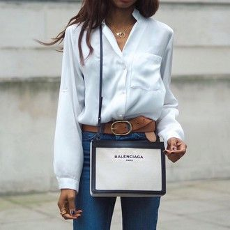 symphony of silk blogger jeans bag balenciaga designer bag white shirt casual