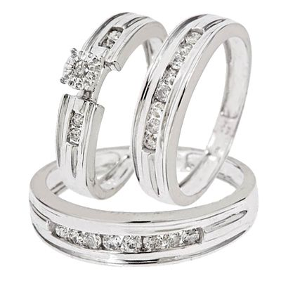 1 2 Carat Diamond Trio Wedding Ring Set 10k White Gold Wedding Ring Trio Sets Couple Wedding Rings Simple Engagement Rings
