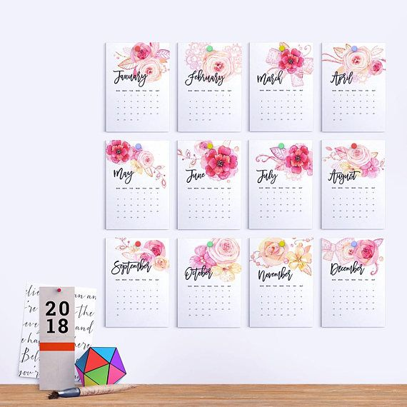 Printable Calendar  Floral Watercolor Calendar Printable