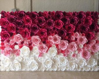 This listing is for 18 paper flowers, handmade from very high quality paper, in different styles and sizes from 6 to 11 diameter. Bouquet size is 28 tall and 24 wide. These listing is for 18 paper roses. If you need a different amount please convo me and i can set up a listing for your needs. Discount ordering avaible for orders over 30. More paper flowers avaible here: https://www.etsy.com/shop/alittlebitofme21?section_id=17431433