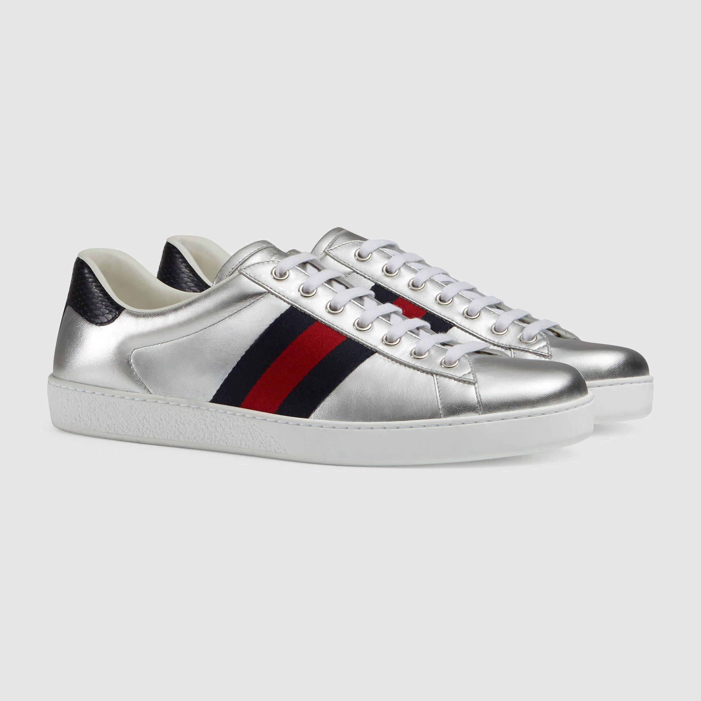 Hommes Chaussures De Sport En Cuir Plus Métallique Gucci 109HJmlnS