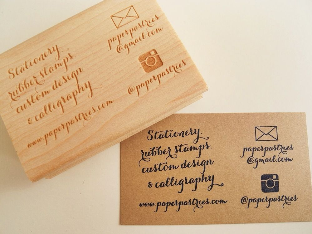 Paper Pastries - Custom Business Card Stamp with Social Media Icon ...