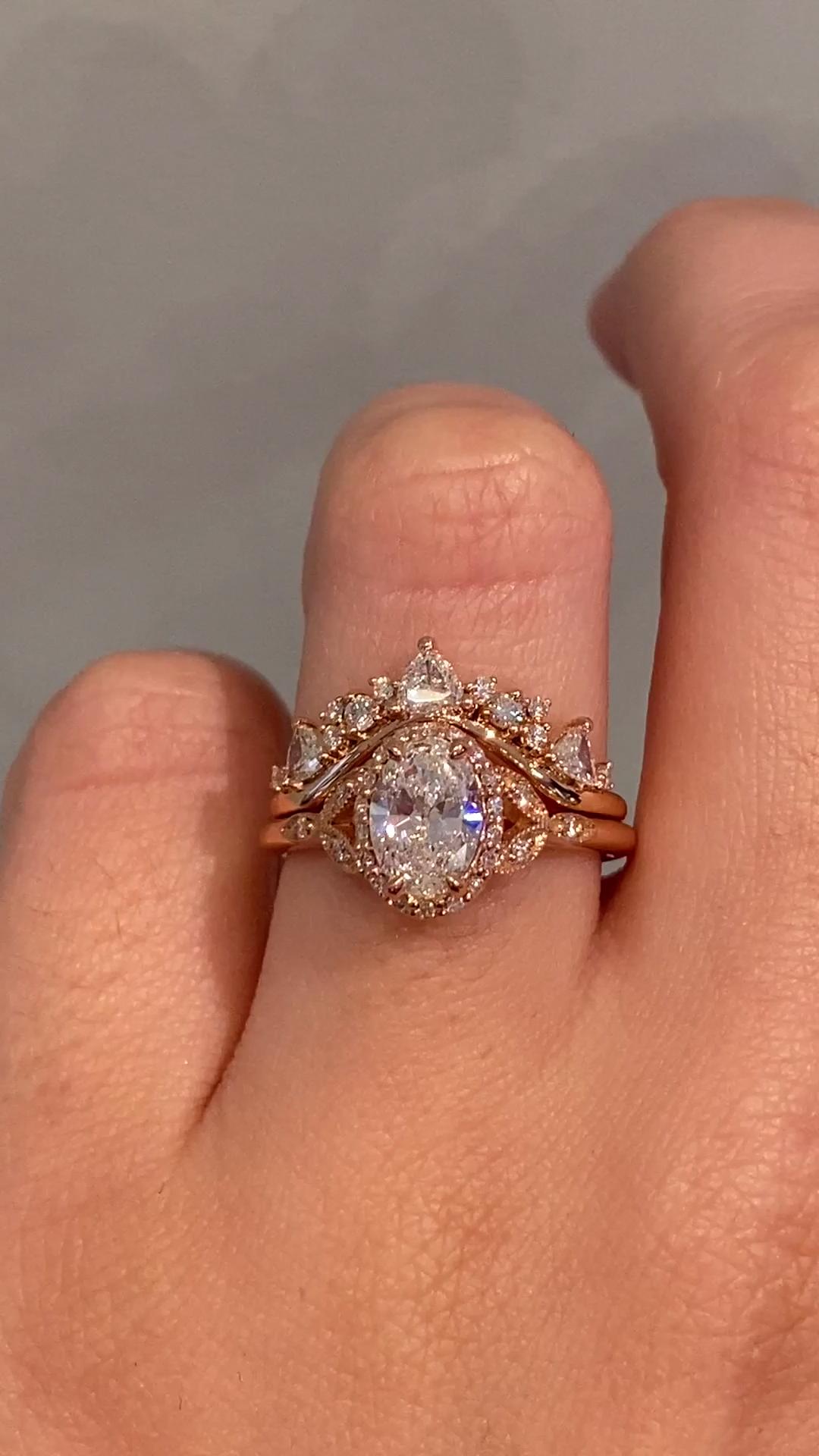 14K Rose Gold Engagement Ring Unique Halo