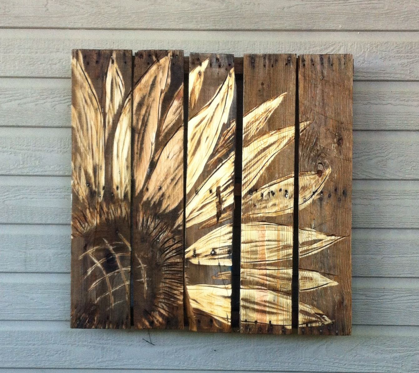 Wooden Pallet Carved With Angle Grinder. Art