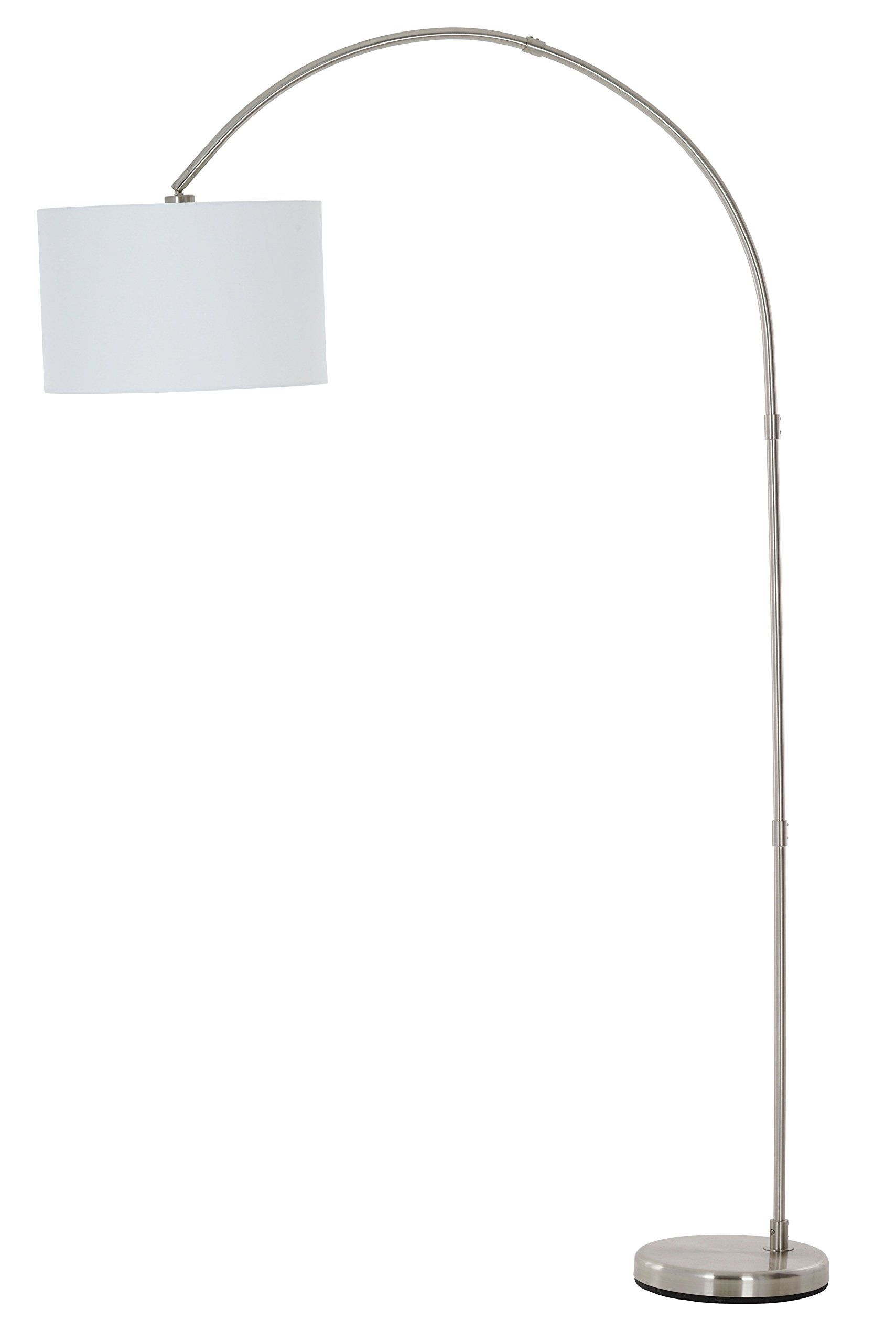 Catalina Lighting 20642 000 Susan Arc Floor Lamp With White Linen Drum Shade,  Silver