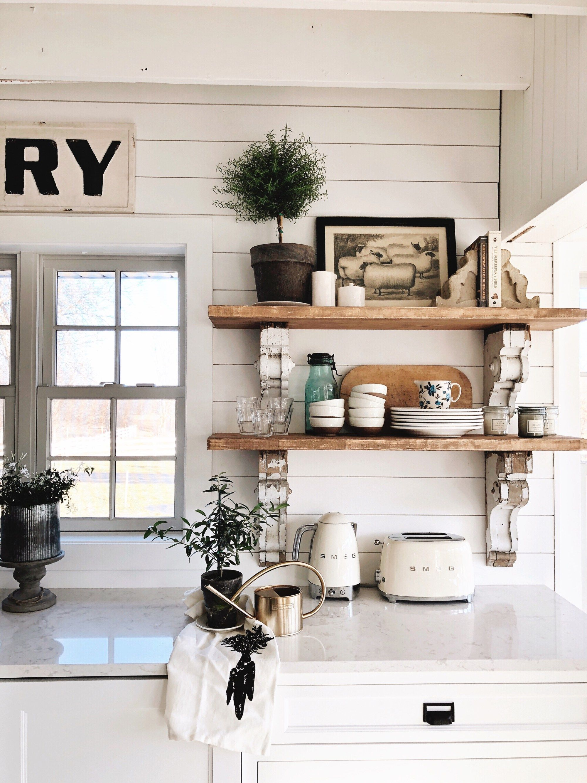 Cottage Style Kitchen Shelves  To Paint Or Stain