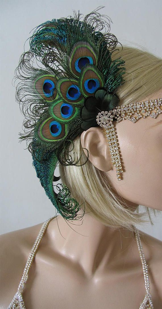 Green Peacock Feathers Flapper Gold Rhinestone Crystal Headband A
