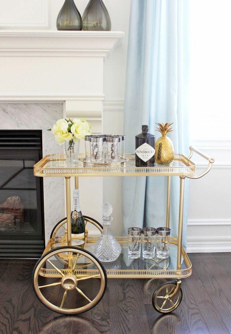 Bar Für Wohnzimmer minibar rollwagen in goldener optik wohnideen wohnzimmer