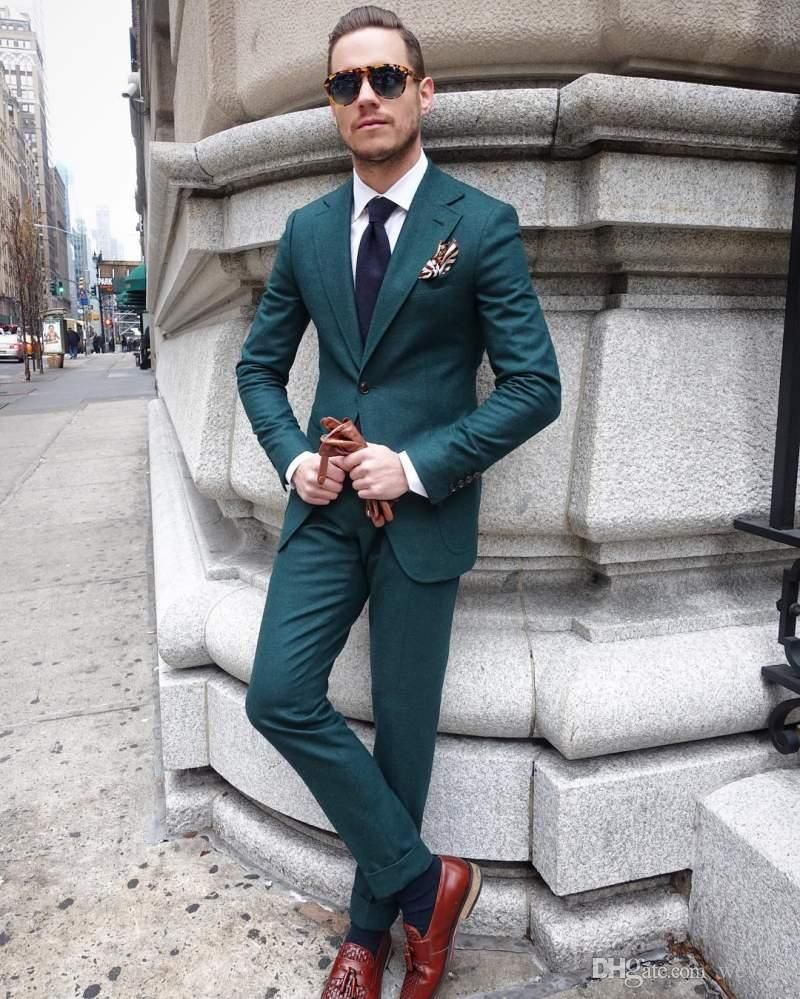 Hunter Green Slim Fit Mens Suit Two Pieces Wedding Tuxedos Custom Made Groom Formal Suits (Jacket Pants) #men'ssuits