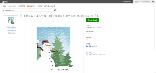 Free Winter Templates For Microsoft Office. Thank You Card ...  Microsoft Thank You Card Template