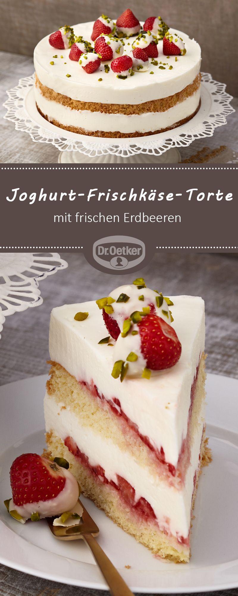 Joghurt-Frischkäse-Torte mit Erdbeeren: Eine sahnige Torte mit frischen Erdbeeren und einer leckeren Joghurtcreme #frischkäsetorte #torte #erdbeertorte #tortegeburtstag