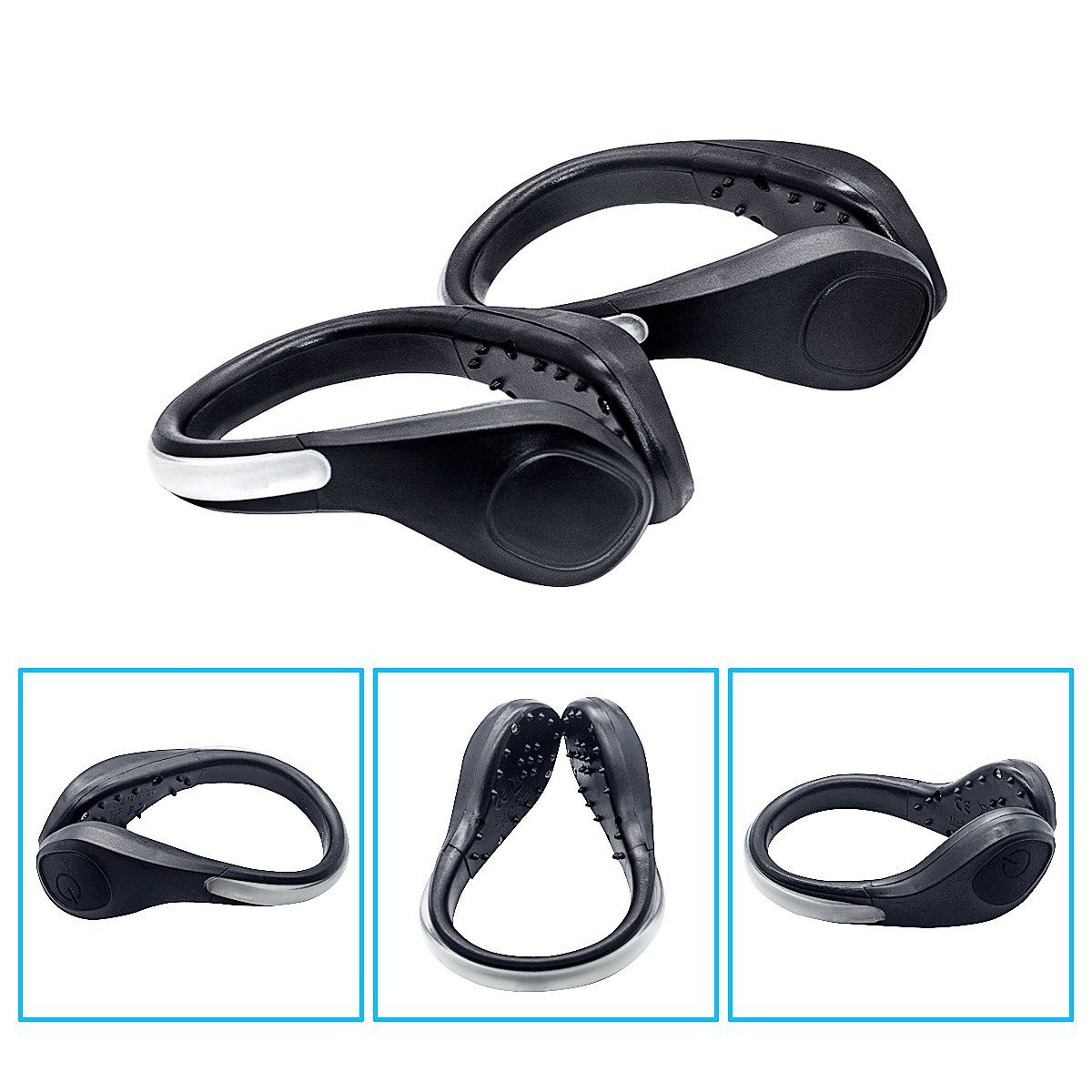 TEQIN Black Shell Colorful LED Flash Shoe Safety Clip