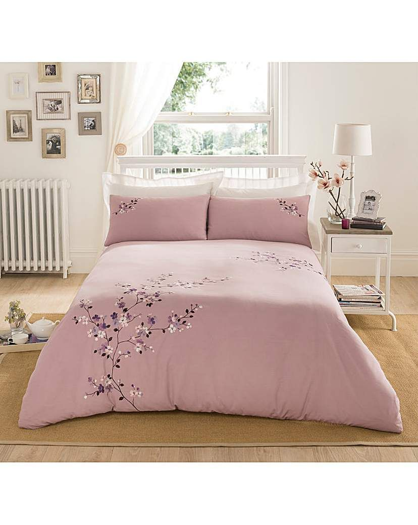 Embroidered Cherry Blossom Duvet Cover Cherry Blossom Bedroom