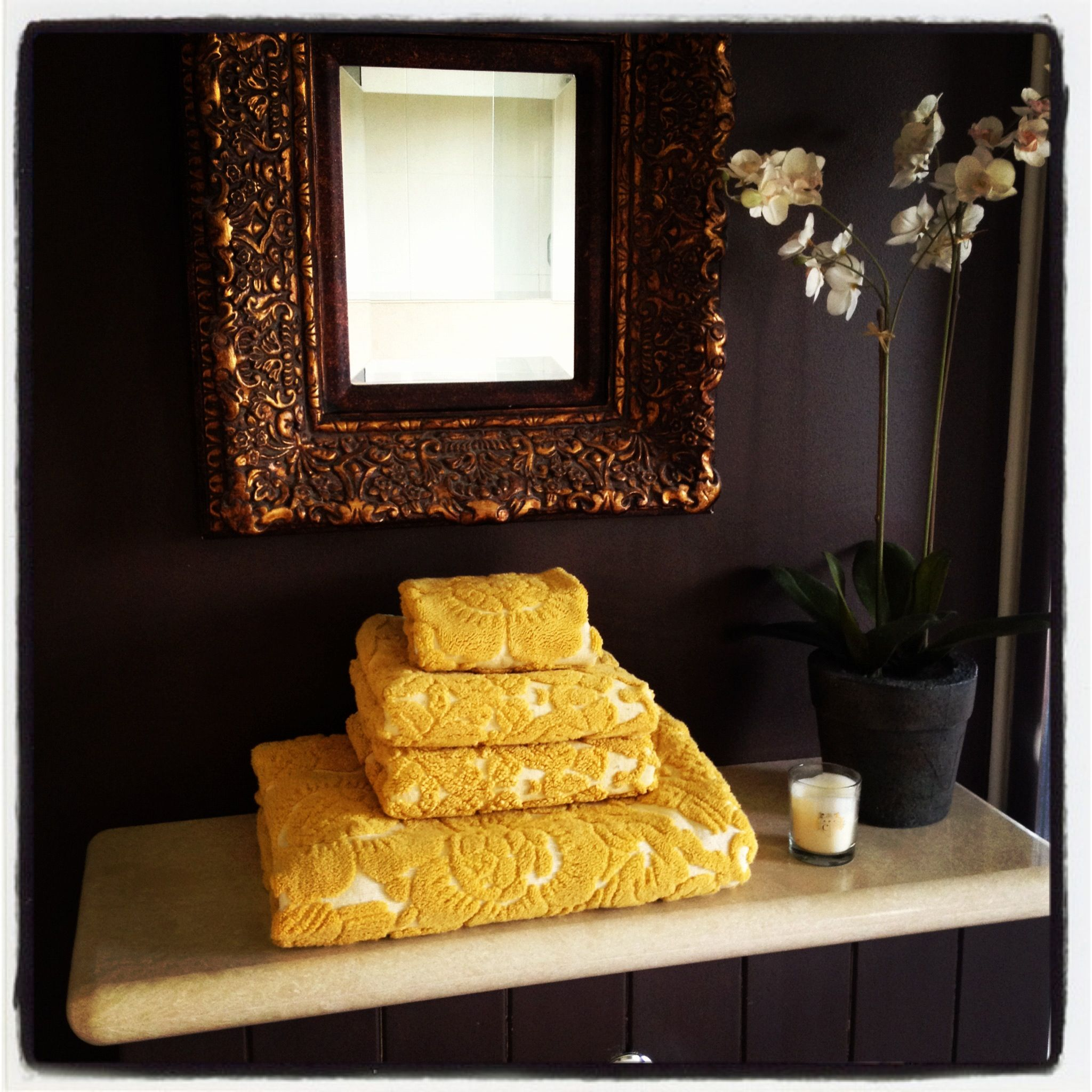 Anthropologie towels chocolate walls and ornate mirror