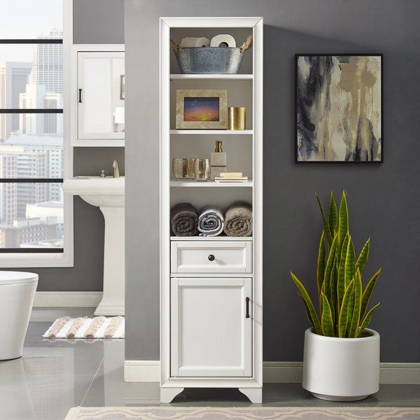 This Witton 18 W X 67 62 H Linen Tower Offers Much Needed Organization To Narrow Bathrooms Hallways Kitchens And Beyond Cabinet Is Modeled