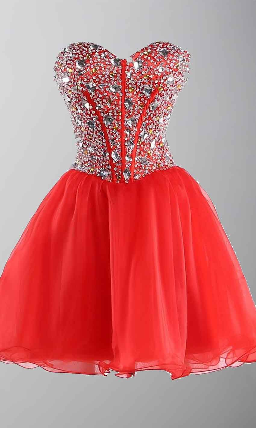 Rhinestone Sweetheart Bodice Short Red Prom Dresses UK KSP403 | uk ...