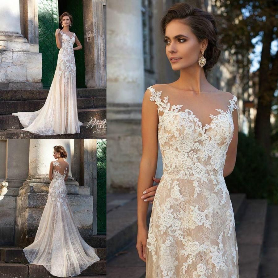 Vintage 2016 Ivory Wedding Dresses Sheer Neck Full Lace Applique ...