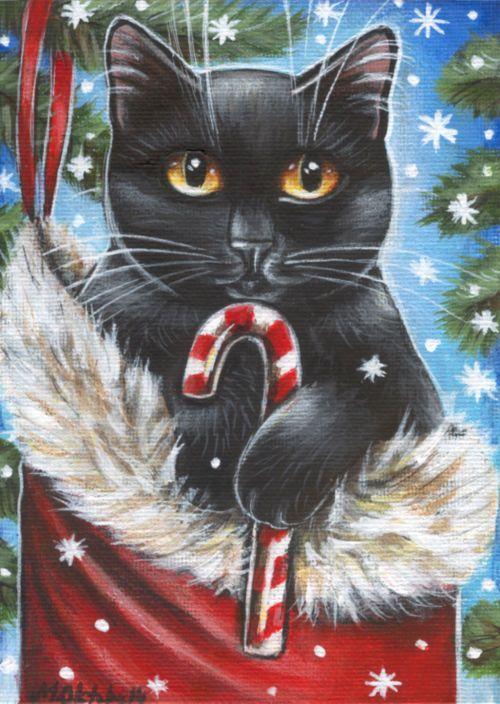 Black Cat Xmas Painting Pets Paintings Cats Christmas