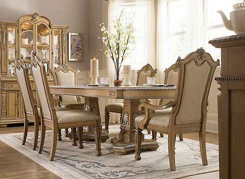 The Wilshire 7-piece dining set is what comes to mind when we ...