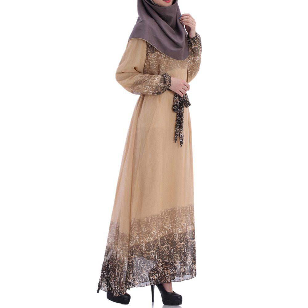 Muslim Long Dress Chiffon Printing Women Garments Autumn brown