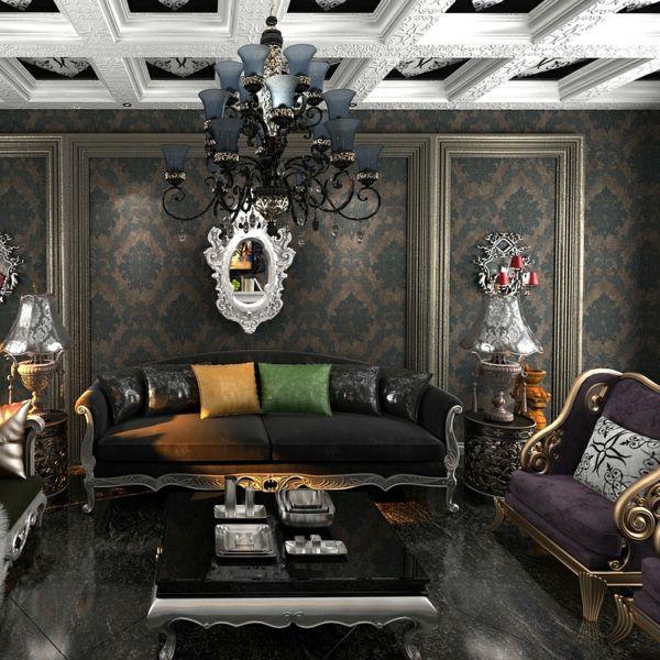 Barock Tapete In Einem Aristokratisch Wirkenden Wohnzimmer   Schwarzer  Kronleuchter