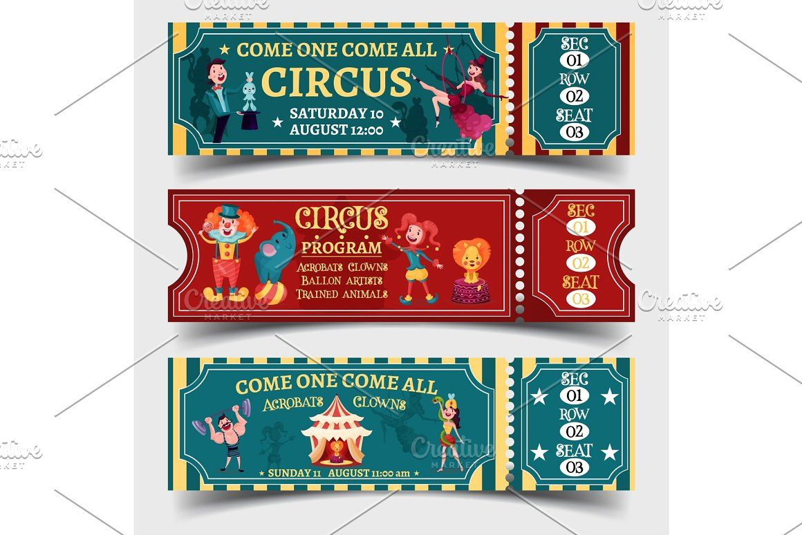 Set Of Isolated Circus Entertaining Show Tickets Carnival Card Business Card Logo Charmer