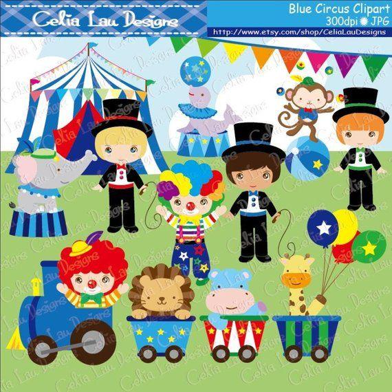 Baby Boy Circus clipart Boys circus party clip art Blue ...