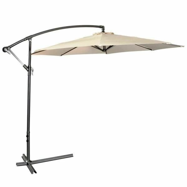 Costway 10 Ft Market Hanging Sun Shade Offset Outdoor Patio Umbrella With Cross Base In Beige Op2808be The Home Depot In 2020 Patio Umbrella Patio Sun Shades Outdoor Patio Umbrellas