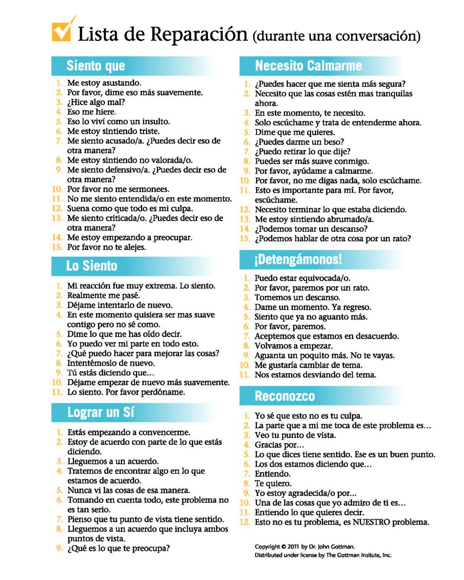 gottman checklist spanish therapy premarital counseling relationship repair counseling. Black Bedroom Furniture Sets. Home Design Ideas