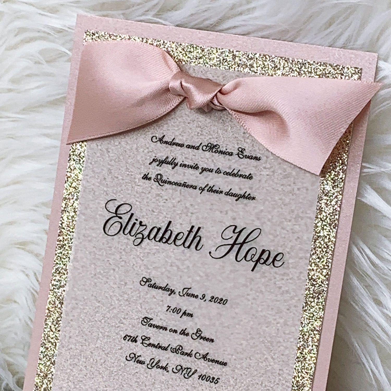 Blush Quinceanera Invitation Rose Gold Quinceanera