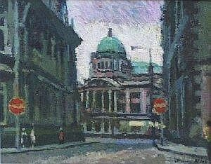 Oil Painting James Neal City Hall Hull Signed On Board 4 25