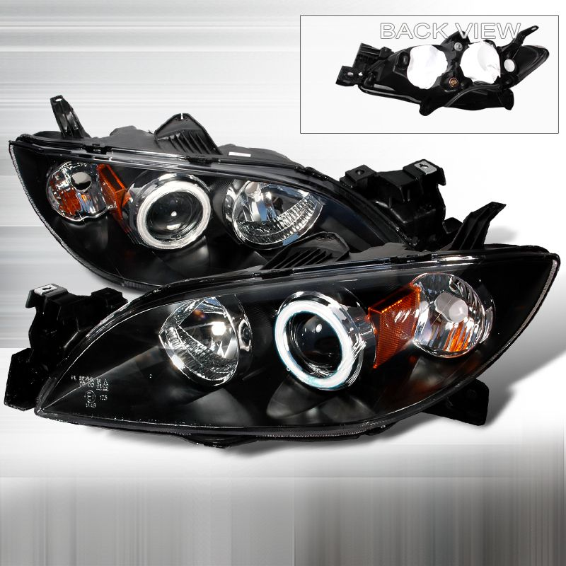 Mazda 3 2004 2007 Black Projector Headlights W Halo
