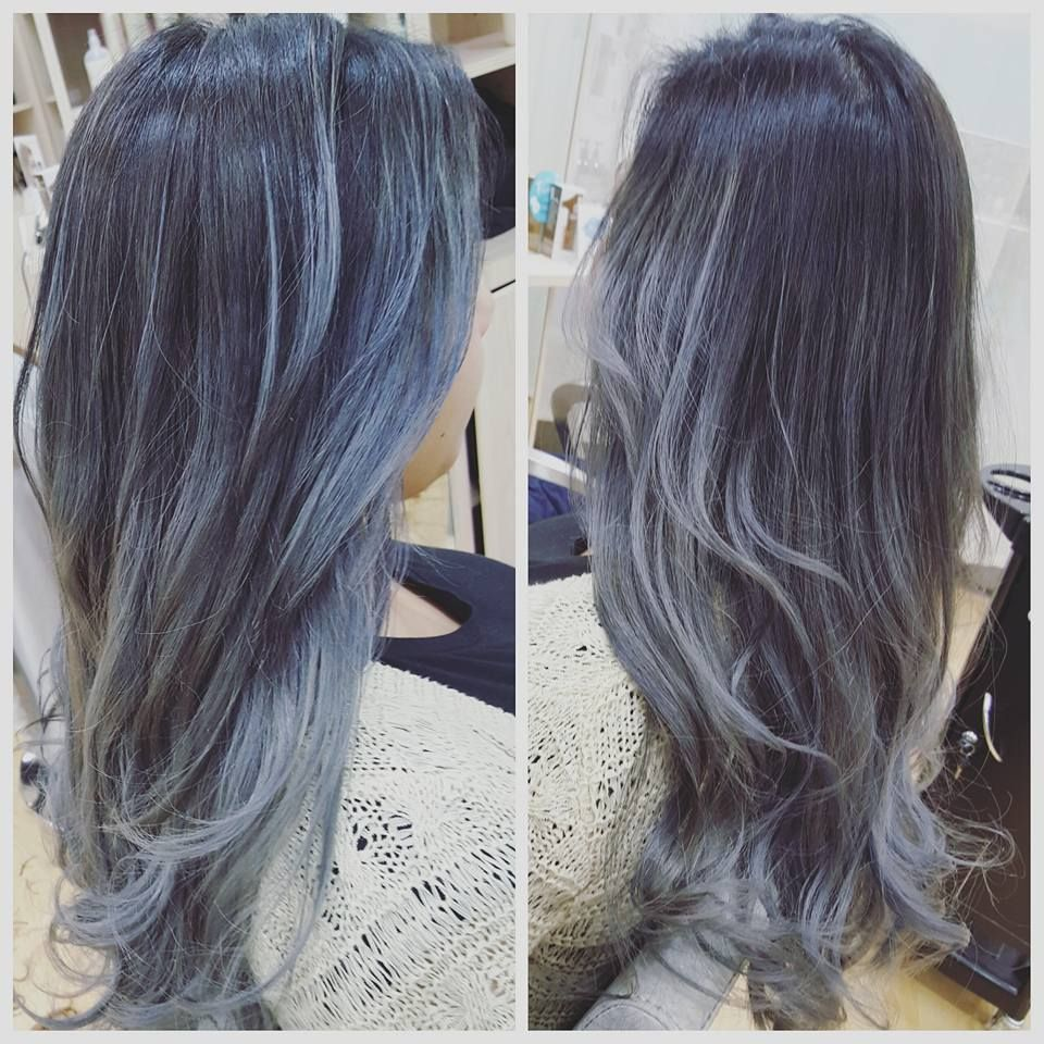 Soft Ash Infused With Steal Blue Silver Grey Hair Ash Blue Hair