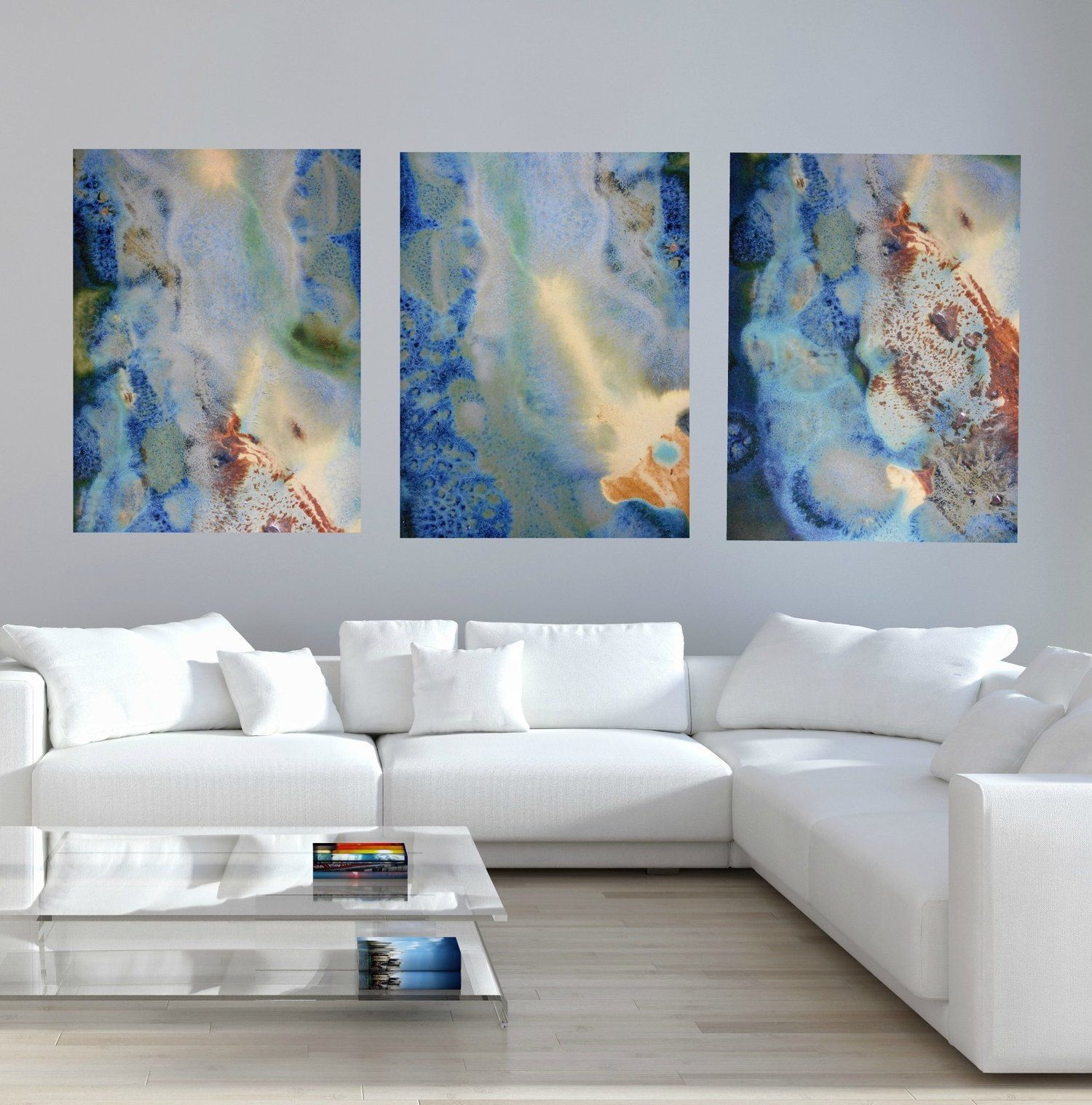 Blue Yellow Brown Turquoise And Green Modern Canvas Prints
