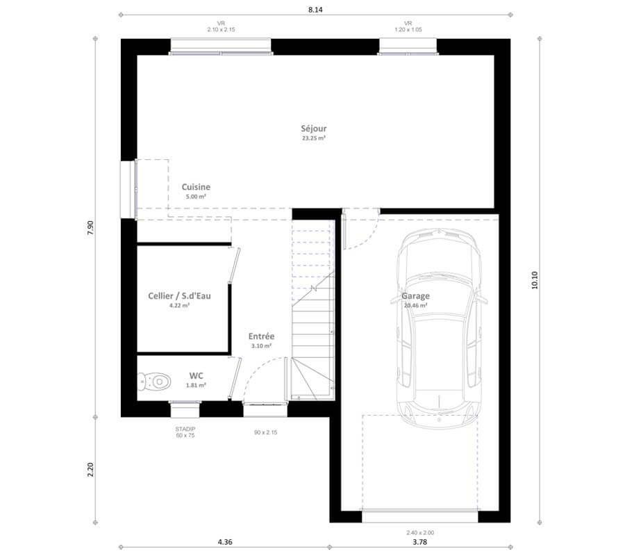 Plan maison individuelle 4 chambres Inya - Habitat Concept Plans