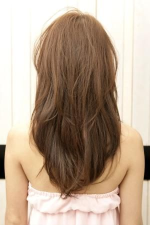 97 Straight Layered V Cut Length Hair Back View Style Fodo Women