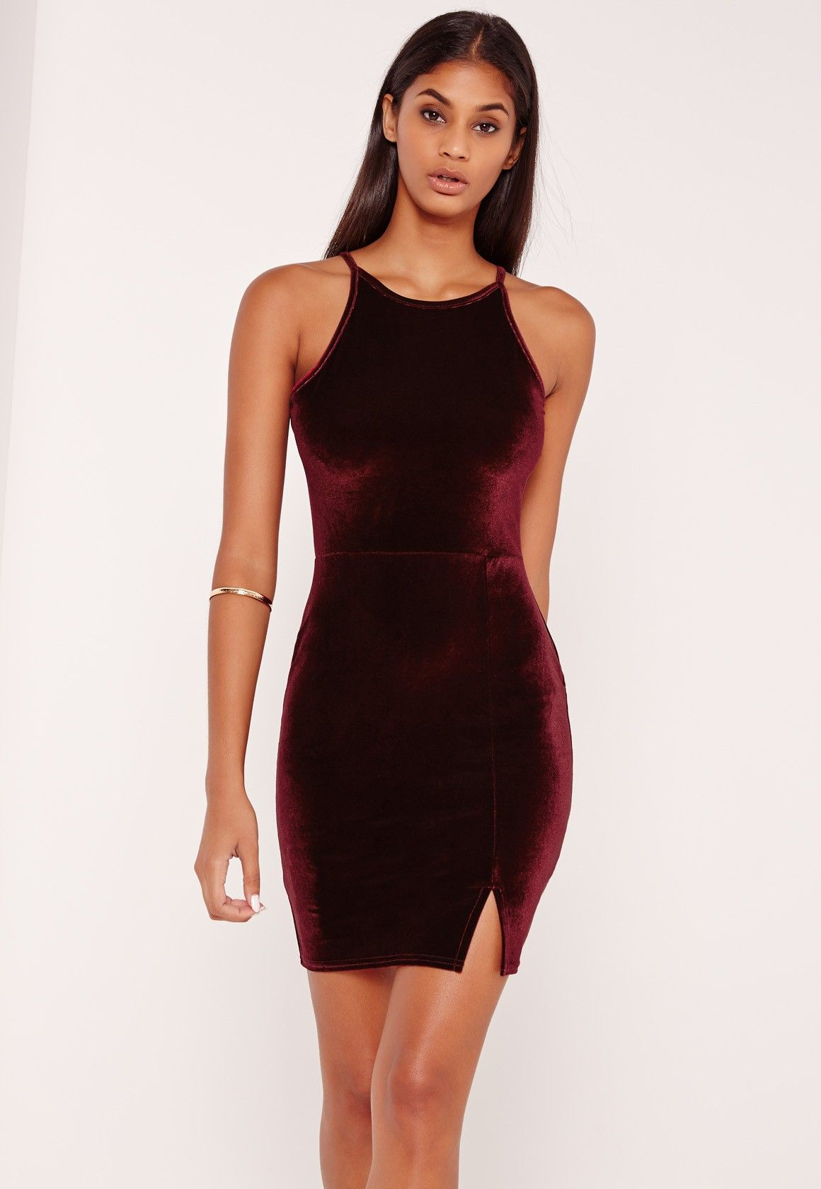 Go for this 90 s neck bodycon dress this weekend for a fierce look! In a  velvet finish and split detailing to the front - all eyes will be on you! bdb15081b