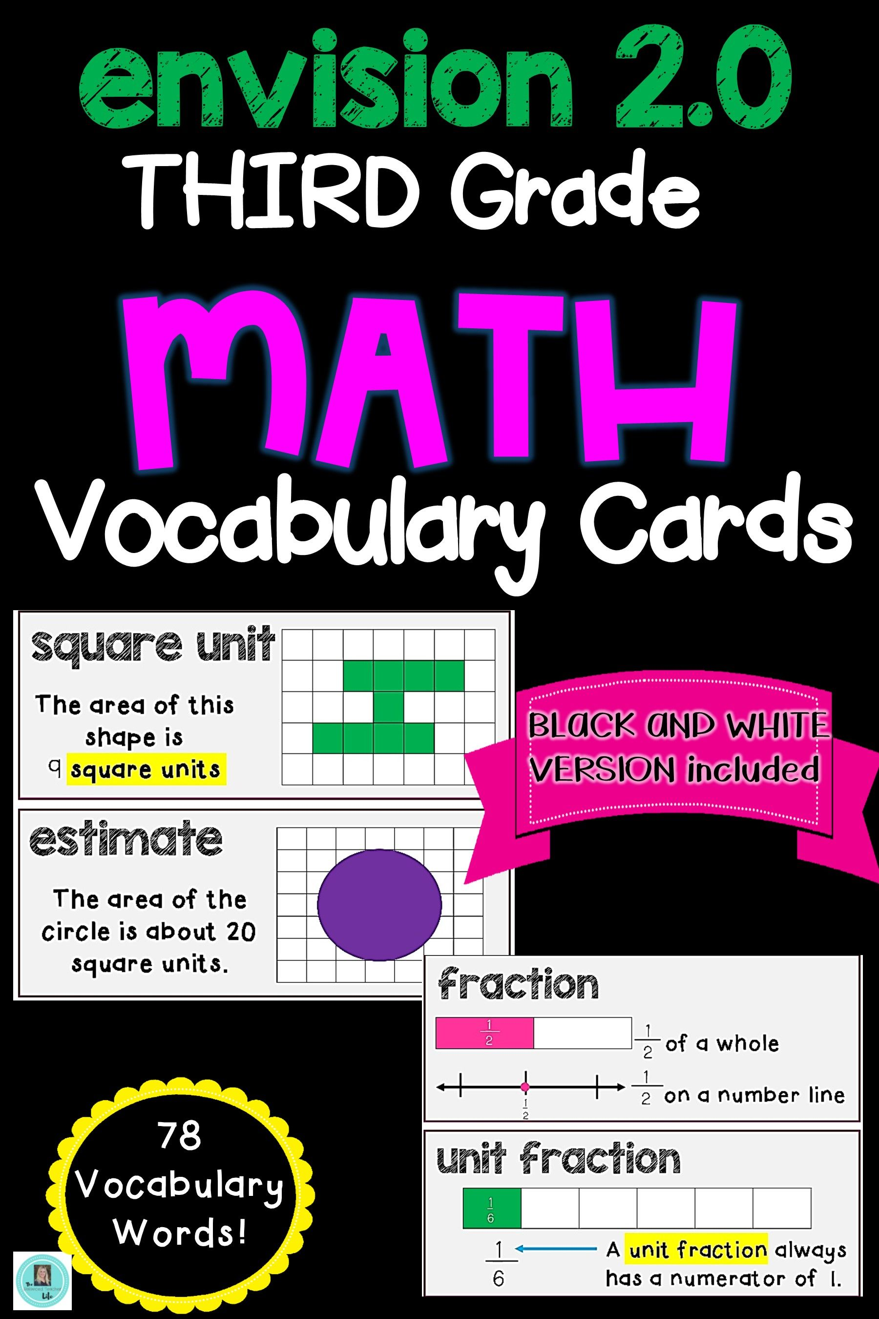 Math Common Core And Envision 2 0 Math Vocabulary Cards