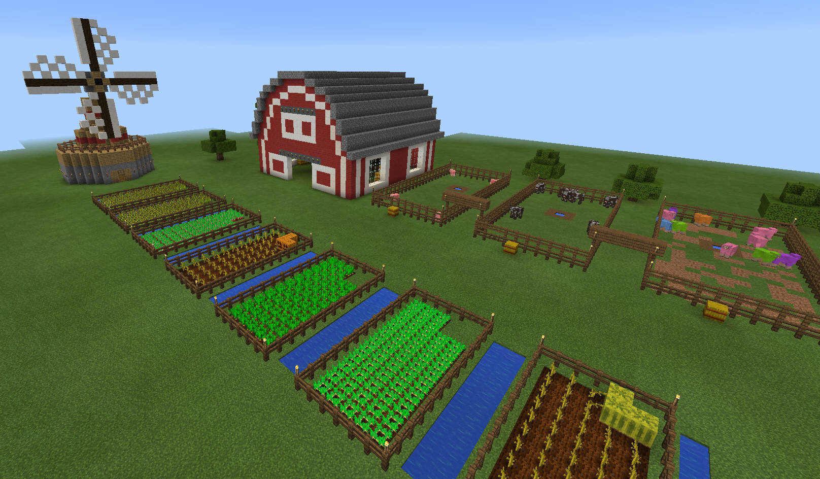 Minecraft Barn Farm and Windmill and Fence Minecraft