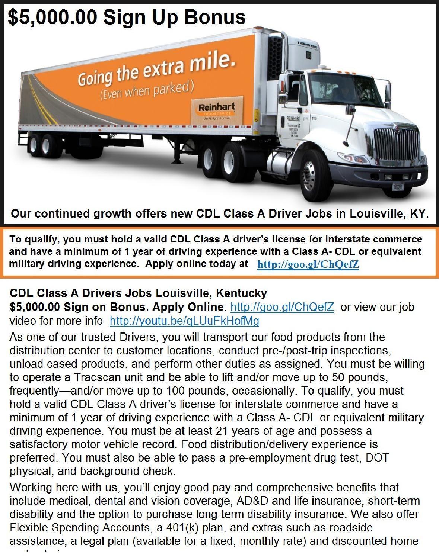 Cdl Class A Truck Driver Jobs Louisville Ky 5k Bonus Driver Job Truck Driver Jobs Truck Driver