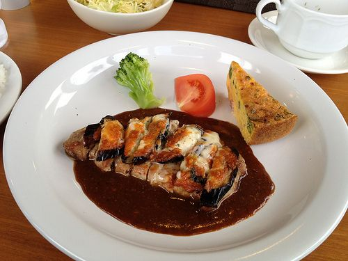 """Grilled eggplant and cheese piled pork loin"" Photograph by Sakak"