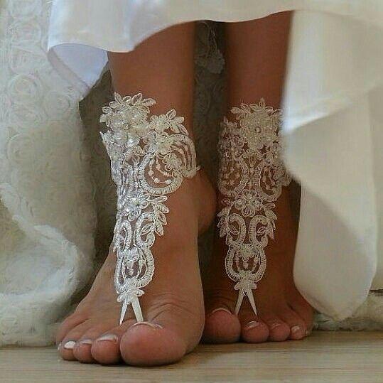 Free  Ship  ivory  bridal  bangle  sandals  beach  wedding  barefoot ... fc1932c24549