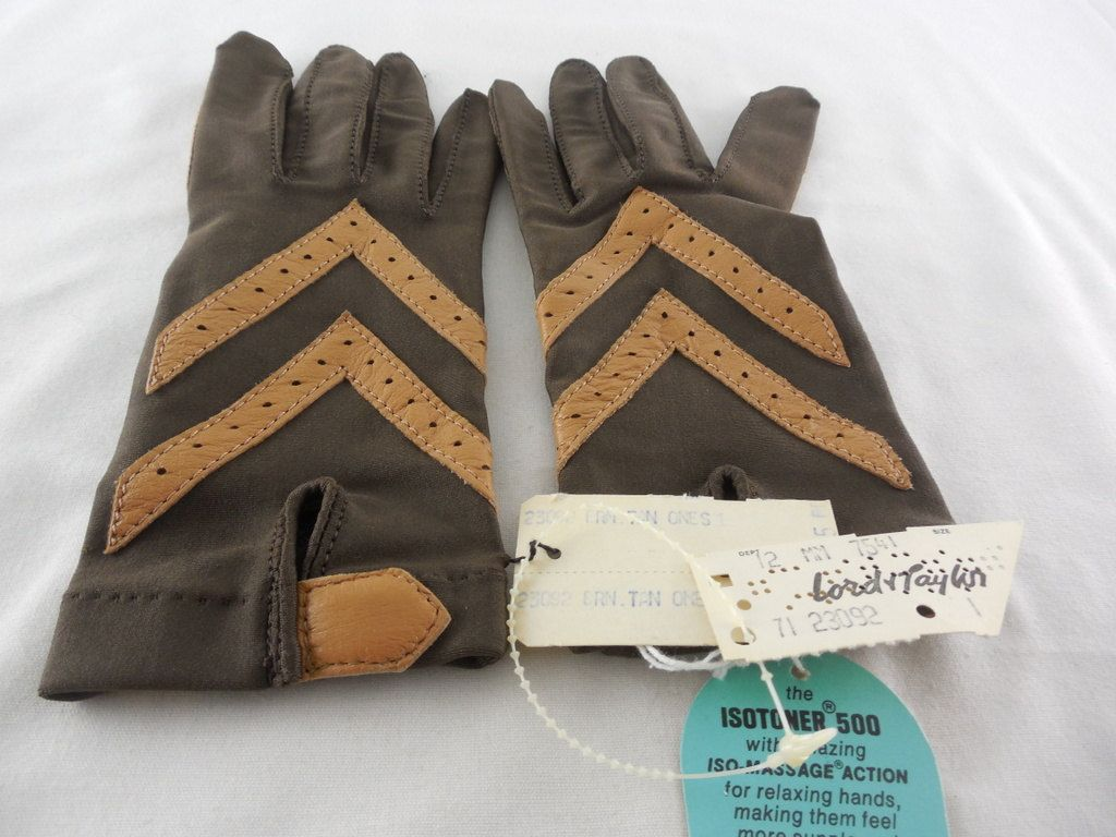 Driving gloves isotoner - Vintage 1960s Aris Isotoner 500 Stretch Driving Gloves Brown Tan Nos With Tags By Dockb30crafts