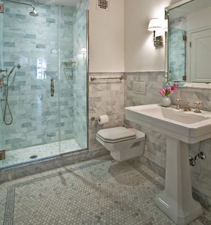 Source: Anne Chessin Designs Website Beautiful Marble Bathroom Design With  White Carrara Carrera Hexagon Marble Tiles With Tile Border, Whi.