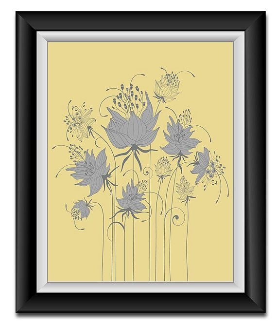 INSTANT DOWNLOAD Grey Yellow Modern Abstract Flowers Printable Art ...