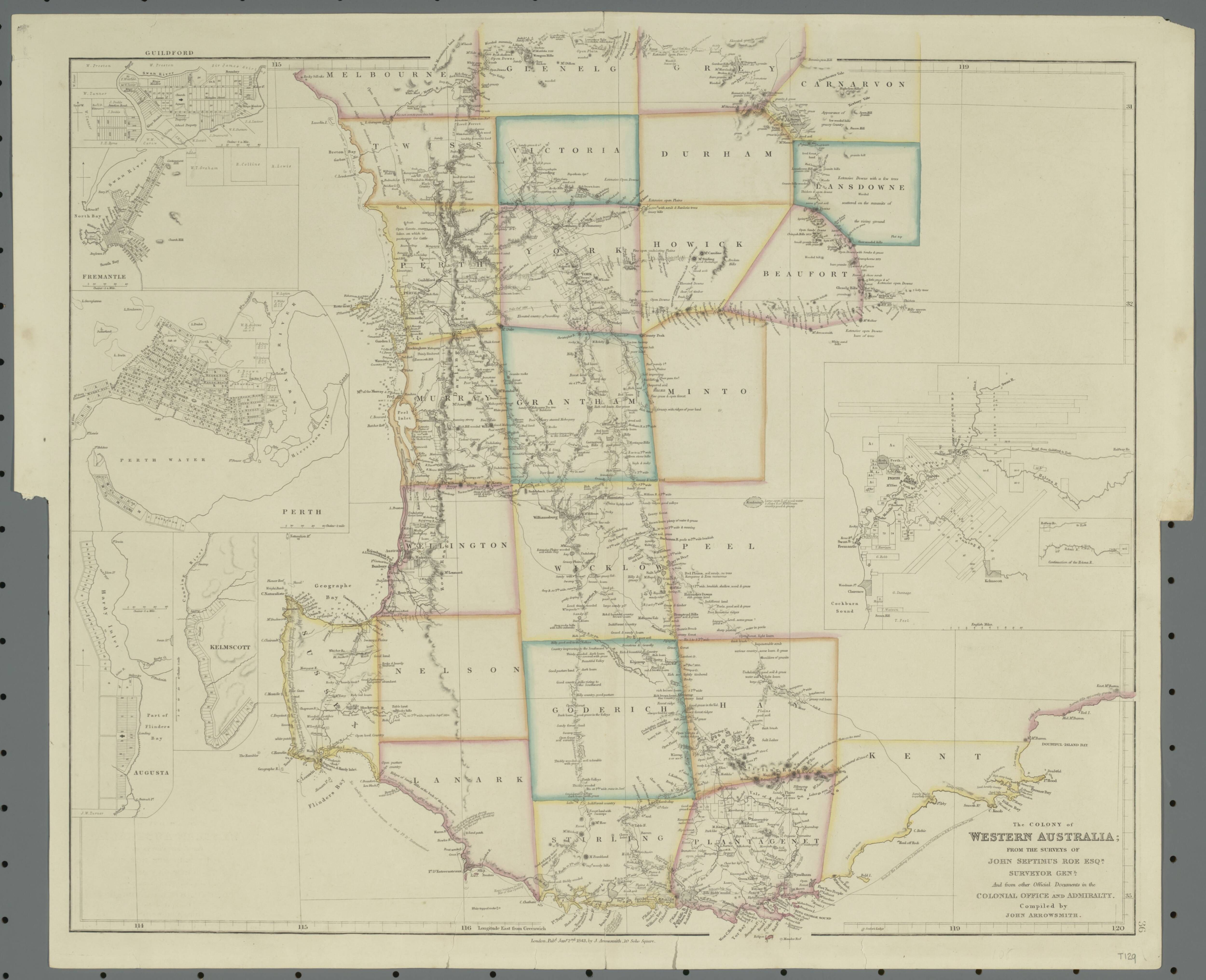 1843 Map of south western Western Australia showing counties and