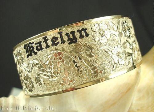 22mm 14k Yellow Gold Hawaiian Custom Hand Engraved Personalized Bangle 6 5 9 0 Hawaiian Jewelry Hand Jewelry Custom Hand Engraved