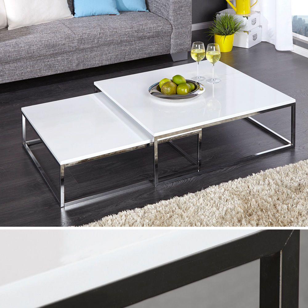 Design Couchtisch 2er Set BIG FUSION hochglanz weiss chrom Tisch ...