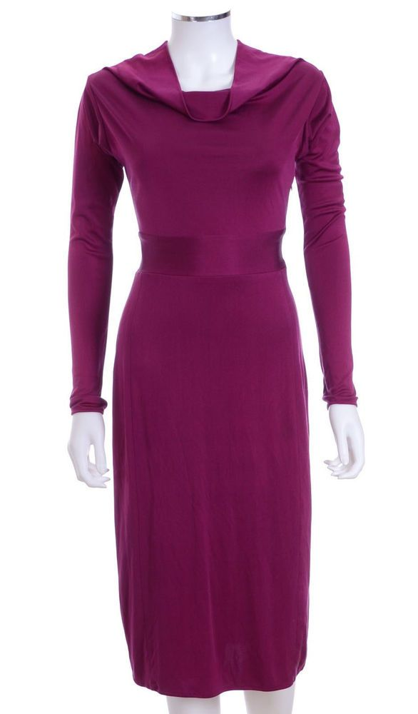 New ISSA London Hot Pink Long Sleeve Silk Draped Dress Sz UK 10 US 6 S #ISSALondon #StretchBodycon #Cocktail
